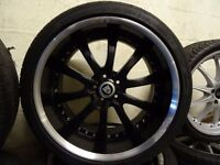 "set of 20"" deep dish jaguar alloys with matching jaguar dunlop tyres 285 30 20 rear & 255 35 20 frnt"