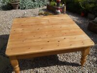 Large antique colour solid pine coffee table