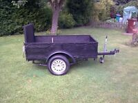 TRAILER WITH DROP DOWN TAILGATE 5ft 8 LONG 3ft 6 WIDE 4 LEAF SPRING EACH SIDE SO HEAVY DUTY