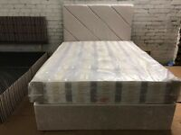 Double fabric divan bed with mattress and 2 drawers