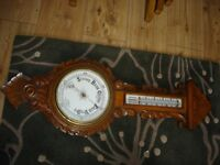 STUNNING ANTIQUE VICTORIAN CARVED OAK BAROMETER THERMOMETER CERAMIC DIALS
