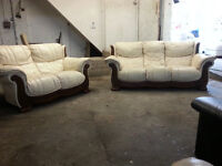 3 & 2 Seater Cream Leather Sofa Couch With Wood - DELIVERY AVAILABLE