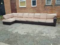 Very nice BRAND NEW very large brown and beige corner sofa .can deliver