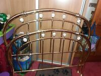 Double size brass bed frame, box springs and mattress