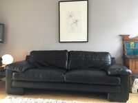 Black leather large 3 seater + 2 seater sofas + footstool SOLD