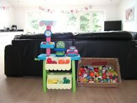ELC LITTLE TIKES FRUIT AND VEG STALL + FRUIT AND VEG AND TINS