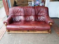 Oak frame 2 and 3 seater glove leather sofas. Delivery possible