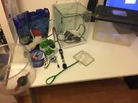 Nano fish tank with accessories