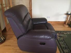 3 Piece Suite for sale - Leather - Aubergine