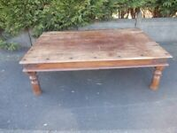 Mexican pine Corona coffee table studded and metal fret work very large