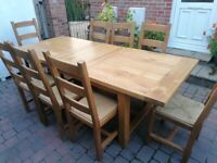 Solid Oak Extendable Table & 8 Chairs