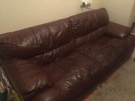 3seater leather sofa & ottoman