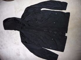 Black warm jacket, size Small. Worn only once, the condition is very good.