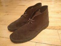 Men's Clarks Desert Boots, size UK11/EU46, brown suede, like new