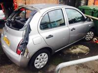 2004 NISSAN MICRA 1.2 VERY LOW MILEAGE ONLY 48K SPARES OR REPAIR