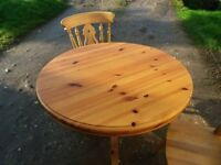Lovely small pine table plus two chairs