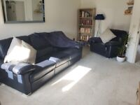 Navy blue leather recliner sofa and Chair