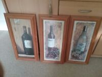 3 pine framed pictures