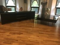IKEA Black Vinyl TV Cabinet and Coffee table
