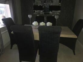 Marble dinning table and chairs set