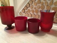 Selection of four glass and ceramic pots