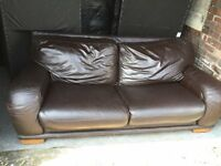BROWN LEATHER LARGE 2 SEATER SOFA,CAN DELIVER