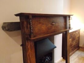 Antique Oak Fireplace Surround