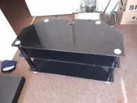 Black Glass smart TV stand