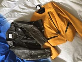 Amazing leather jackets (brown&yellow) UK8
