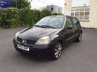2002 RENAULT CLIO 1.2 PETROL MANUAL 5 DOOR HATCHBACK BLACK GOOD DRIVE ALLOYS NOT CORSA FIESTA POLO