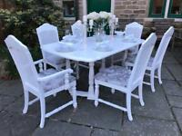 Dining Table & 6 Chairs ~ SILVER CRUSHED VELVET ~ Extends ~ SEATS 8