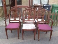 6 dining chairs,mahogany,carved back,clean cushion,stable,2 carver