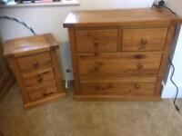Children's pine chest of drawers bedside table wardrobe