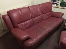 FREE - Maroon leather sofa & armchair