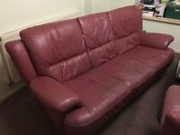 FREE - Maroon leather sofa & armchair