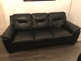3 seater and 1 seater black leather sofa