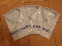 "Set of 3 Brand New Pale Blue Short Sleeve Alexandra Shirts 19"""