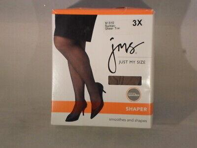 Just My Size Shaper Pantyhose Sheer Toe Size 3X Suntan                      R7-1