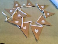 Wedding white printed love heart bunting with white cloth trim