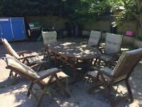 Wooden Table and 6 Chair Patio Garden Set