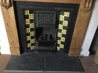 Victorian Style Attractive V. Good cond. CastIron/Tiled Fire Surround, plus coal effect gas fire.
