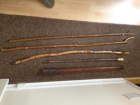 Four Walking Sticks & Pick Axe Handle