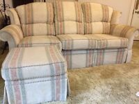 Three piece suite , 3 seater sofa , 2 armchairs and footstool