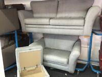 New/Ex Display Grey Cargo Aubery 4 Seater Sofa + Love Chair + Ottoman Footstool