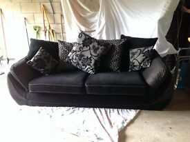 A lovely black, 3 seater, scatter back sofa. Immaculate condition!