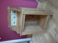 """Hand-made, solid pine wash stand with 3 inserted """"Original Style"""" 'Briar Rose' tiles. £100 ono"""