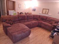 Sued Leather Corner Sofa 5 piece from Harveys
