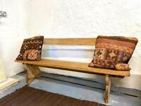 Antique pine pew style bench