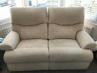 2 seater sofa and armchair, fabric & reclining £200