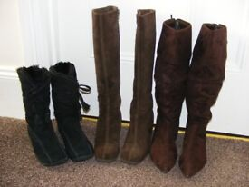3 Pairs Of Suede Boots All Size 3 (Price Is For All 3 Pairs But Willing To Sell Separate).